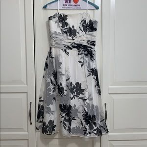 White and Black Floral Print Strapless Dress